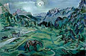 Oskar Kokoschka - Dolomite Landscape - (Famous paintings reproduction)