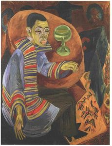Ernst Ludwig Kirchner - The Drinker (self-portrait) - (Famous paintings reproduction)