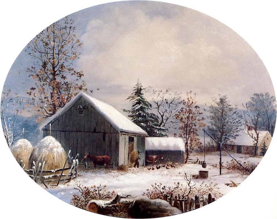 Farmyard in Winter, 1855 by George Henry Durrie (1820-1863, United States) | Art Reproductions George Henry Durrie | WahooArt.com