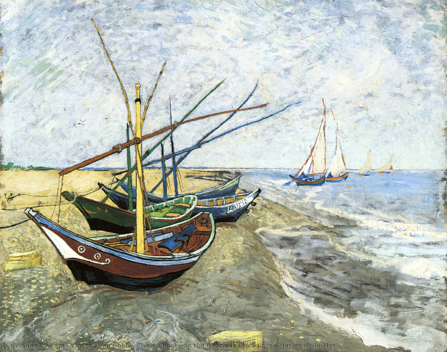 Fishing boats on the Beach at Les Saintes-Maries-de-la-Mer, 1888 by Vincent Van Gogh (1853-1890, Netherlands) | Museum Quality Copies Vincent Van Gogh | WahooArt.com