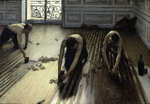 Gustave Caillebotte - The Floor Scrapers (also known as The Floor Strippers) - (paintings reproductions)