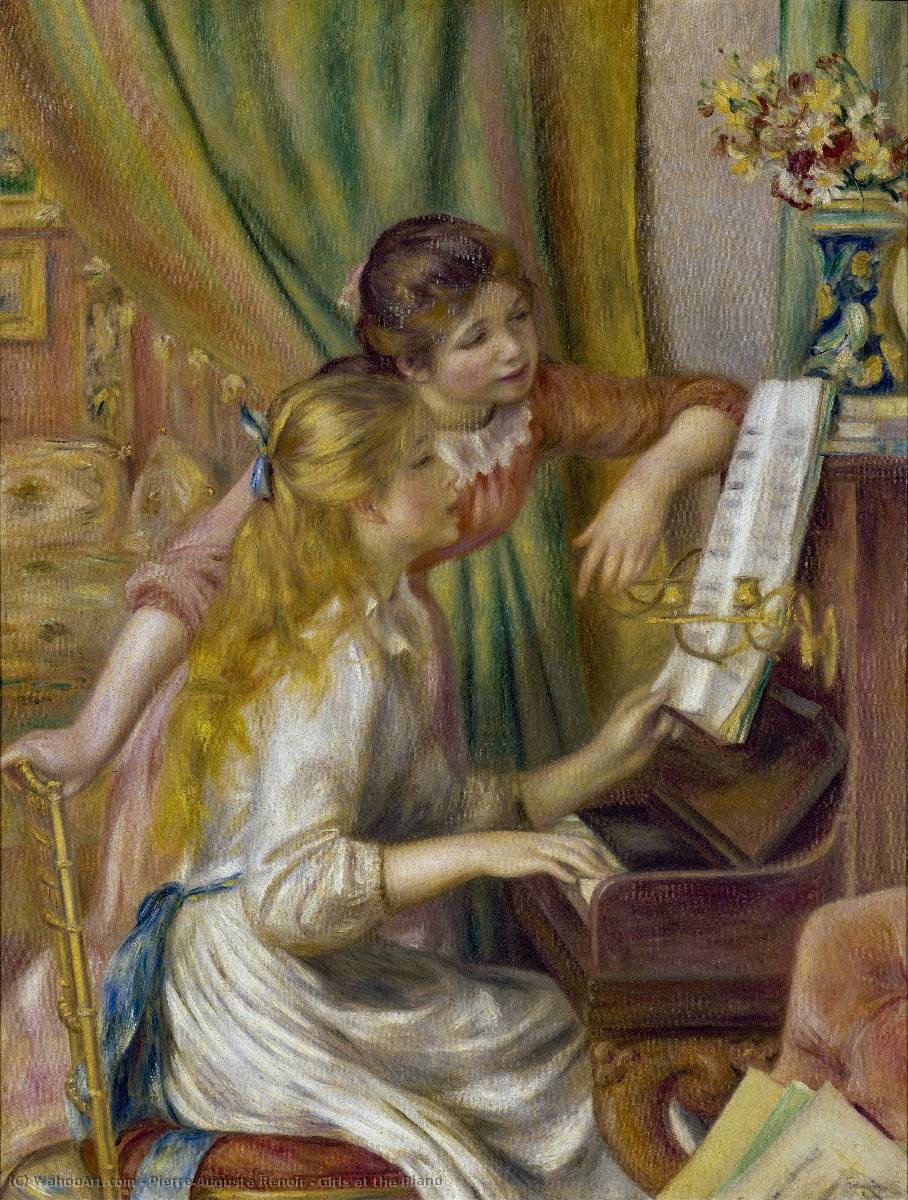 Girls at the Piano, 1892 by Pierre-Auguste Renoir (1841-1919, France) | Art Reproductions Pierre-Auguste Renoir | WahooArt.com