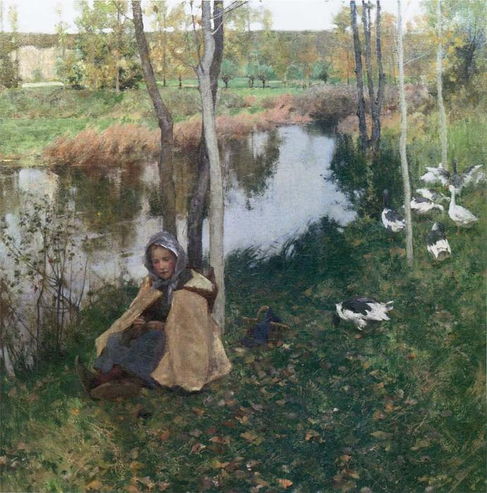 Goose Girl, 1886 by Willard Leroy Metcalf (1858-1925, United States) | Paintings Reproductions Willard Leroy Metcalf | WahooArt.com