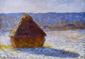 Claude Monet - Grainstack in the Morning, Snow Effect - (paintings reproductions)