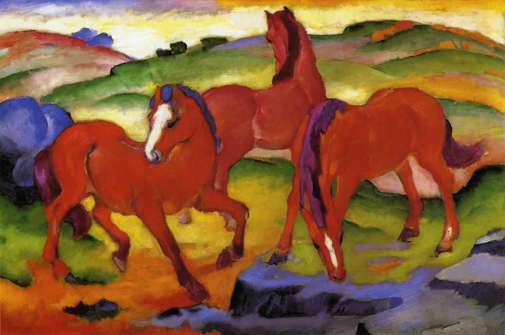 Grazing Horses IV (also known as The Red Horses), 1911 by Franz Marc (1880-1916, Germany) | Art Reproductions Franz Marc | WahooArt.com
