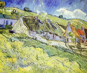 Vincent Van Gogh - A Group of Cottages - (Famous paintings reproduction)