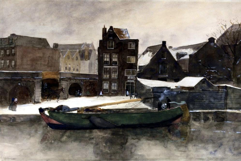 Het Prinseneiland: the Teertuinen in winter, Amsterdam by George