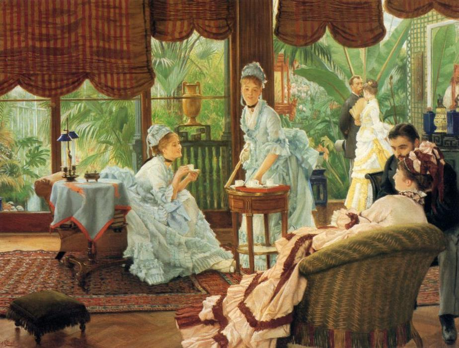 In the Conservatory (also known as The Rivals), 1875 by James Jacques Joseph Tissot (1836-1902, France) | Oil Painting | WahooArt.com
