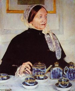 Mary Stevenson Cassatt - Lady at the Tea Table - (Famous paintings reproduction)