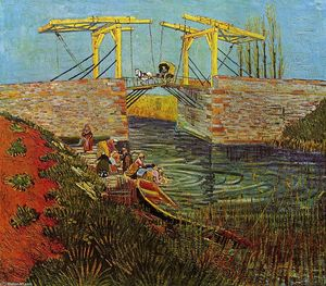 Vincent Van Gogh - The Langlois Bridge at Arles - (Famous paintings reproduction)