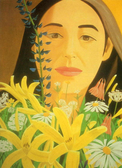 Ada with Flowers by Alex Katz | Oil Painting | WahooArt.com