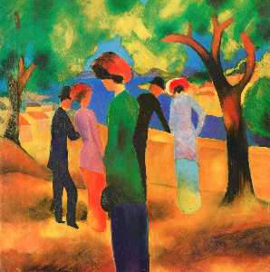 August Macke - Woman in a Green Jacket - (Famous paintings reproduction)