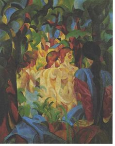 August Macke - Bathing girls with town in the backgraund - (Famous paintings reproduction)