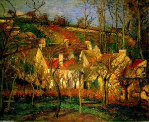 Camille Pissarro - Red Roofs, Corner of a Village, Winter - (Famous paintings reproduction)