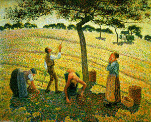 Camille Pissarro - Apple Picking at Eragny-sur-Epte - (Famous paintings)