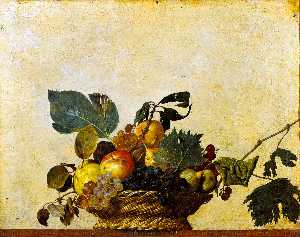 Caravaggio (Michelangelo Merisi) - Basket of Fruit - (Famous paintings reproduction)