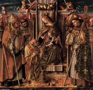 Carlo Crivelli - Virgin and Child Enthroned with Saints