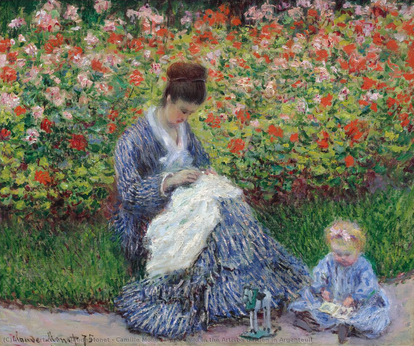 Camille Monet And A Child In The Artist S Garden In Argenteuil 1875 By Claude Monet 1840 1926 France Art Reproductions Claude Monet Wahooart Com