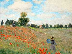 Claude Monet - Wild Poppies, near Argenteuil - (Famous paintings reproduction)