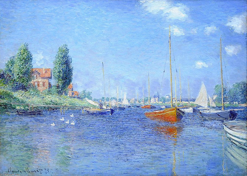 Red Boats, Argenteuil, 1875 (oil on canvas), 1875 by Claude Monet (1840-1926, France) | Reproductions Claude Monet | WahooArt.com