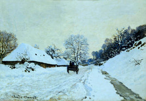 Claude Monet - Cart on the Snow Covered Road with Saint-Simeon Farm - (Famous paintings)