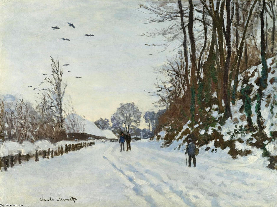 The Road to the Farm of Saint-Simeon in Winter, 1867 by Claude Monet (1840-1926, France) | Museum Quality Copies Claude Monet | WahooArt.com