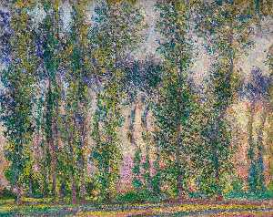 Claude Monet - Poplars at Giverny - (Famous paintings reproduction)