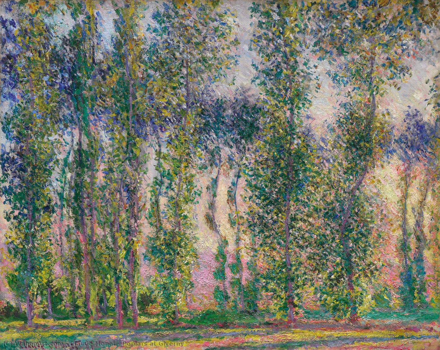 Poplars at Giverny, 1887 by Claude Monet (1840-1926, France) | Museum Quality Copies Claude Monet | WahooArt.com
