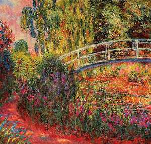 Claude Monet - The Japanese Bridge (The Water-Lily Pond, Water Irises) - (oil painting reproductions)