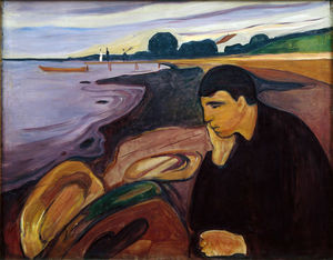 Edvard Munch - Melancholy - (Famous paintings reproduction)