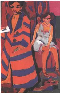 Ernst Ludwig Kirchner - Self-Portrait with a Model - (Famous paintings reproduction)