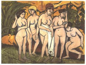 Ernst Ludwig Kirchner - Five Bathing Women at a Lake - (Famous paintings reproduction)