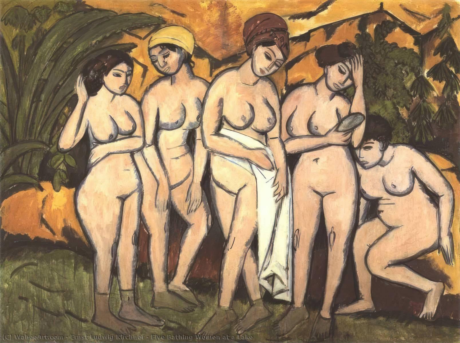 Five Bathing Women at a Lake - Ernst Ludwig Kirchner