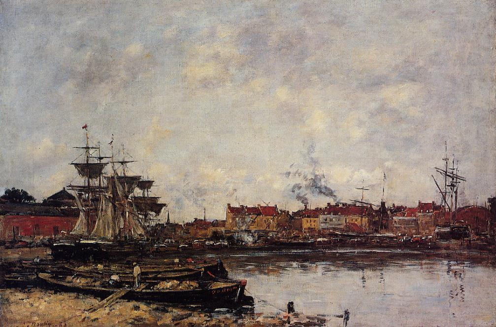 Dunkirk, the Inner Port, 1889 by Eugène Louis Boudin (1824-1898, France) | Museum Quality Copies Eugène Louis Boudin | WahooArt.com