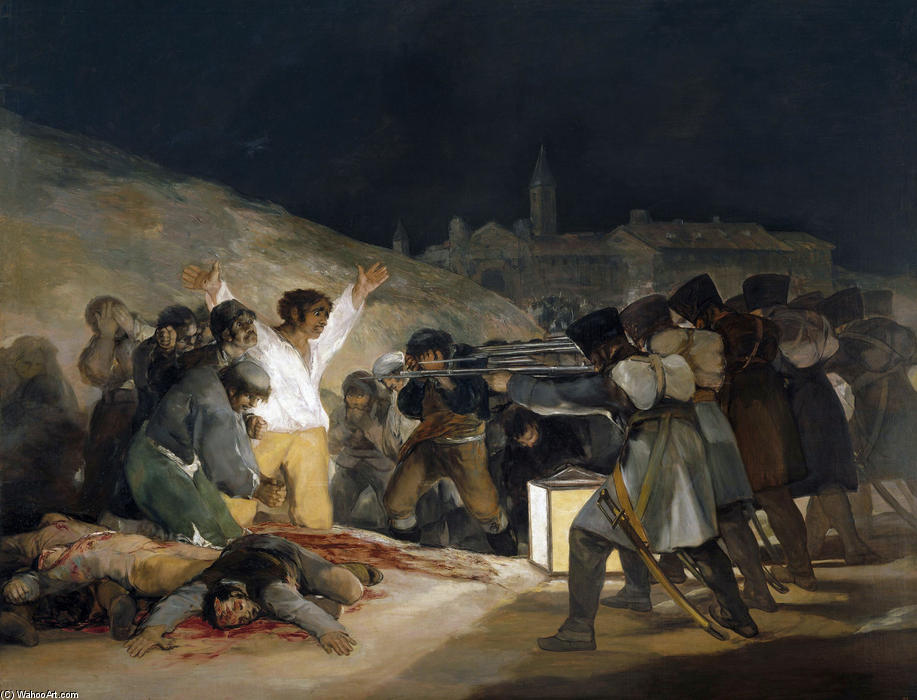 The Third of May 1808 (Execution of the Defenders of Madrid), 1814 by Francisco De Goya (1746-1828, Spain) | Museum Art Reproductions Francisco De Goya | WahooArt.com