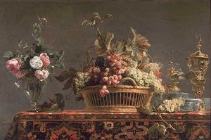 Frans Snyders - Grapes in a basket and roses in a vase - (Famous paintings reproduction)