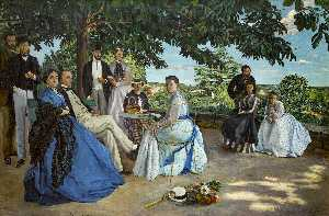 Jean Frederic Bazille - Family Reunion - (paintings reproductions)