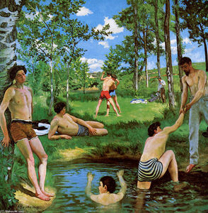 Jean Frederic Bazille - Bathers (Summer Scene) - (Famous paintings reproduction)