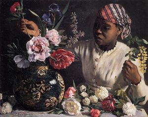 Jean Frederic Bazille - Negress with Peonies