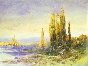 Fyodor Alexandrovich Vasilyev - Lombardia Pioppi sulla riva di un lago. Sera