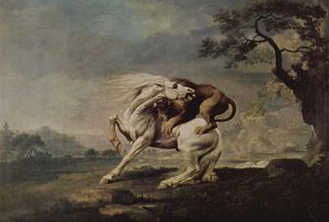 George Stubbs - Lion Attacking a Horse - (oil painting reproductions)