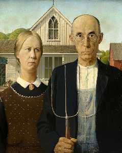Grant Wood - American Gothic - (oil painting reproductions)