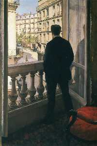 Gustave Caillebotte - Man at the Window - (Famous paintings reproduction)