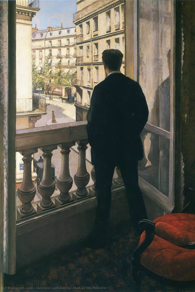 Man at the Window, 1875 by Gustave Caillebotte (1848-1894, France) | Reproductions Gustave Caillebotte | WahooArt.com