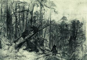 Ivan Ivanovich Shishkin - Morning in a Pine Forest - (Famous paintings reproduction)