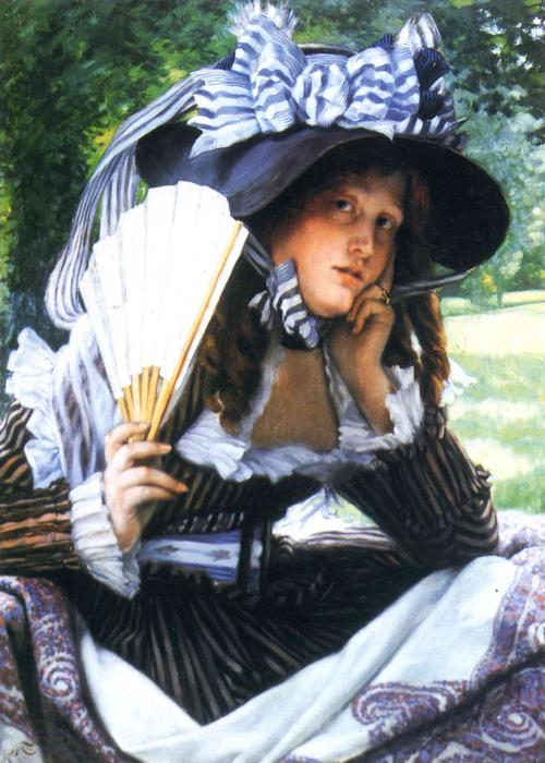 Girl with a fan, 1871 by James Jacques Joseph Tissot (1836-1902, France) | Museum Quality Reproductions | WahooArt.com