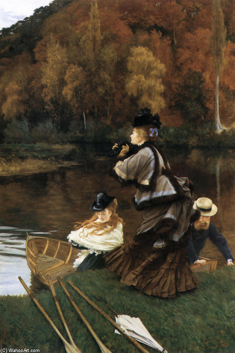 Autumn on the Thames, 1872 by James Jacques Joseph Tissot (1836-1902, France) | Oil Painting | WahooArt.com