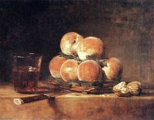 Jean-Baptiste Simeon Chardin - Basket of Peaches - (Famous paintings reproduction)