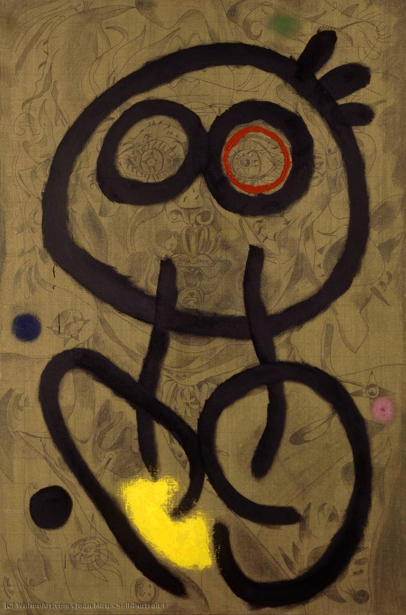 Self-Portrait I by Joan Miro (1893-1937, Spain) | Famous Paintings Reproductions | WahooArt.com