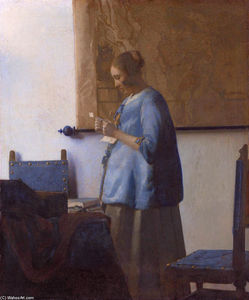 Woman reading a letter (Woman in Blue Reading a Letter)
